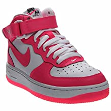 NIKE KIDS AIR FORCE 1 MID (GS) SHOES WHITE BLACK HYPER PINK SIZE 6.5