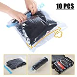 Travel Space Saver Bags Vacuum Travel Storage Bags Reusable Packing Sacks (10 Pack), No Vacuum Pump Needed, Save 80% Luggage Space, Double Zipper, 100% Waterproof, Perfect for Travel/ Home Storage