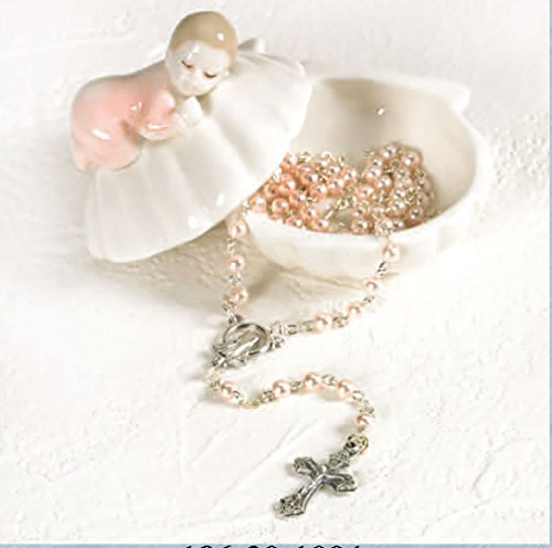 Beautiful Sleeping Girl On Clam Shell Porcelain Baby Keepsake Rosary Box. Sold in Packs of 4 - Porcelain Rosary Box