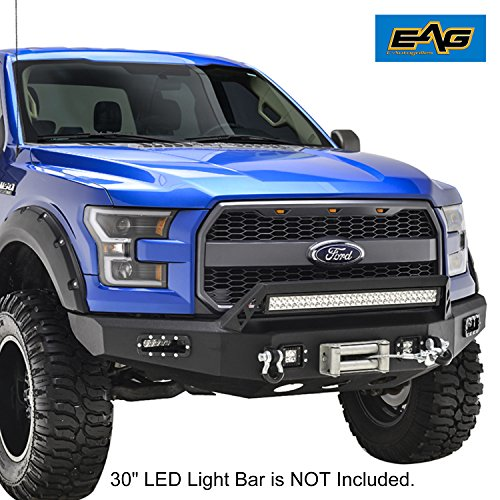 Ford Winch (E-Autogrilles 15-17 Ford F-150 Front Bumper with Winch Plate & LED Lights & Light Bar Bracket)