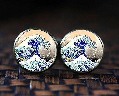 Hokusai Japanische Wave Manschettenkn/öpfe Japan The Great Wave Japanische Kunst Manschettenkn/öpfe