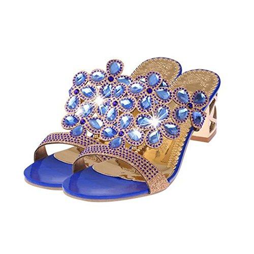 Top Shishang Sandalias Mujer Verano,Señoras Zapatos de Tacon Alto, aspero y Sandalias de Tacón, Sandalias, Zapatos de Mujer, Bohemia Fiesta Elegante, Zapatos de Tacon Alto Talla 41 Azul marino