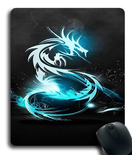 Neon Blue Dragon Custom Mouse Pad/ Mouse Mat - Cloth - 3MM - Rectangle - Neon Blue Mouse Pad