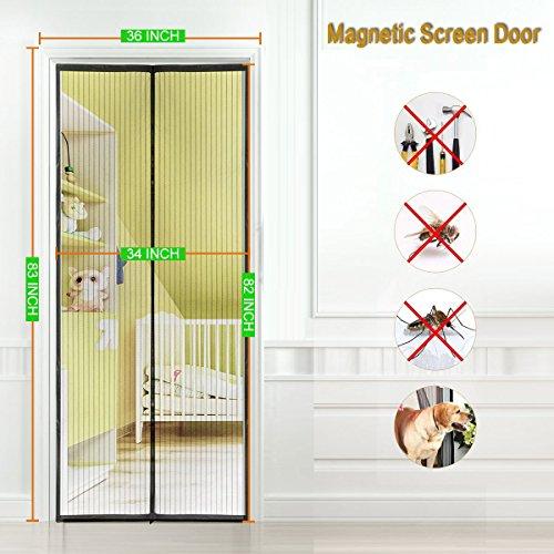 Magnetic Screen Door 36''x83''Fits Doors up to 34''x82'', Curtain For French Door/Sliding Glass Door, Magnet Screen With Full Frame (Frame Sliding Glass Door)