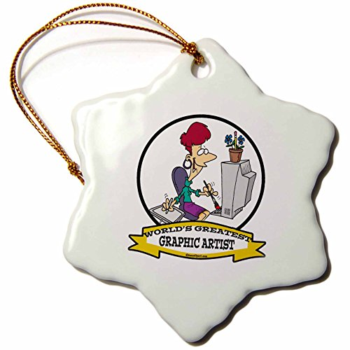 3dRose orn_103227_1 Funny Worlds Greatest Graphic Artist Female Cartoon-Snowflake Ornament, Porcelain, 3-Inch (Worlds Funny Graphic Greatest)