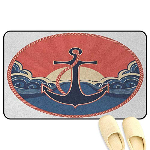 Kansas Robe - homecoco Anchor Outdoor Door Mats Navy Label with Robe and Sea Waves at Sunset Anchor Retro Aquatic Life Icons Red Blue Yellow 3D Digital Printing Mat W16 x L24 INCH