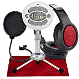 Blue Snowball USB Condenser Microphone (Textured White) with Headphones and Accessory Pack