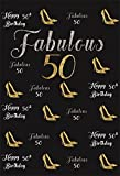 CSFOTO 3x5ft Background for Happy 50th Birthday Party Photography Backdrop Fabulous 50 Gold High Heels Female Birthday Bash Ornament Celebration Woman Photo Studio Props Polyester Wallpaper