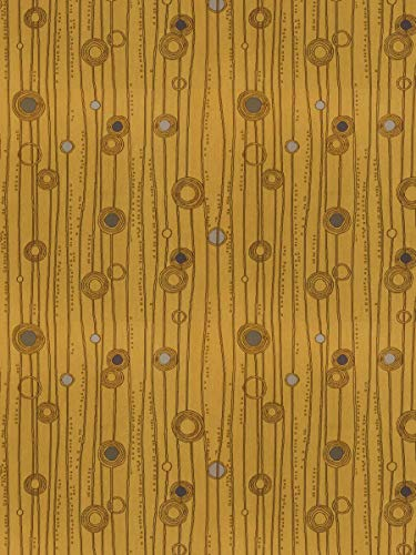 Sunflower Brown Gold Stripes Contemporary Modern Dots Circles Wovens Upholstery decorative Upholstery Fabric by the yard