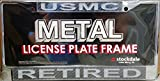 Marines RETIRED Carbon Fiber Design LASER FRAME Chrome Metal License Plate Tag Cover United States Military Marine Corp