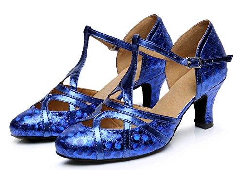 Tda Donna Tacco Medio In Pelle Pu Tango Da Ballo Latino Partito Scarpe Da Ballo Cm101 6cm Stampa Blu