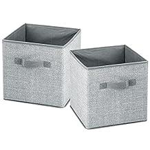 InterDesign 05053 Aldo Fabric Closet Storage Organizer Cube for Toys, Sweaters, Accessories - Pack of 2, Gray