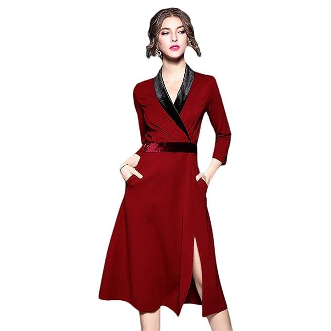 YiLianDa Mujeres Elegante Vestidos Terciopelo Largo Vestido Manga Larga Maxi Vestidos para Cóctel Fiesta XL