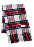 White X Red 100% Cashmere Plaid Shawl Stole Women Gift Scarves Wrap Blanket B1014B1-10