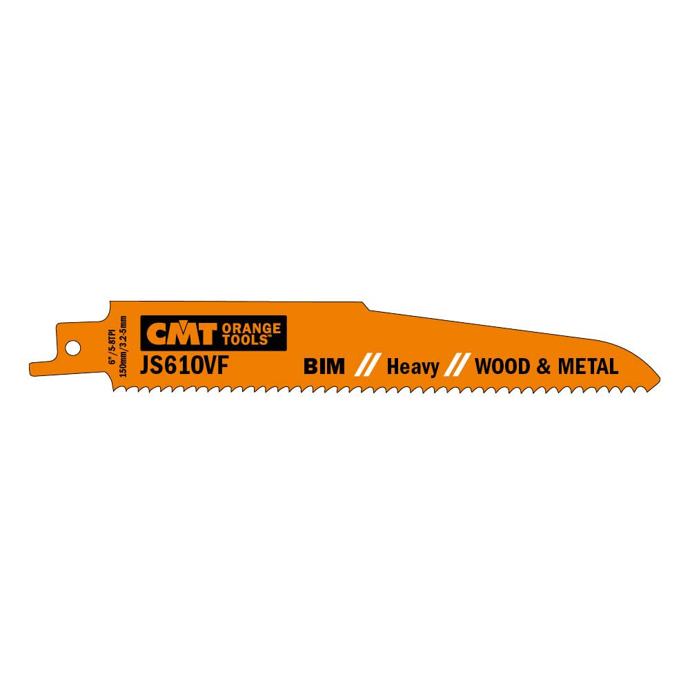 CMT USA, Inc. JS610VF-5 CMT 5-8 TPI Bimetal Reciprocating Saw Blades for Wood/Metal (5 Pack), 5''