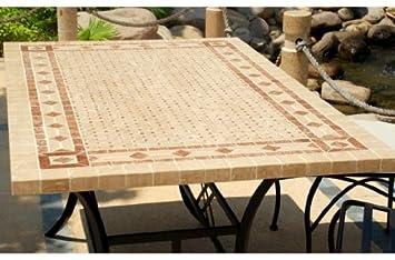 TOSCANE: Table mosaïque de jardin en fer forgé marbre Rouge et ...
