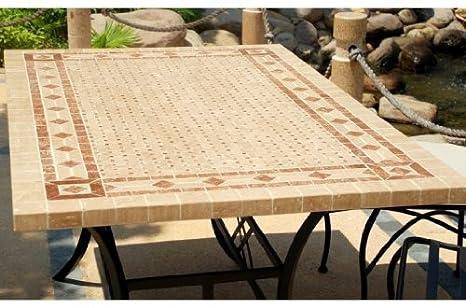 TOSCANE: Table mosaïque de jardin en fer forgé marbre Rouge ...
