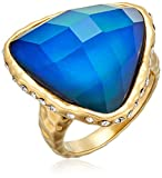 Color Changing 18k Yellow Gold Plated Bronze Thermochromic Liquid Crystal and Czech Crystal Mood Ring, Size 7
