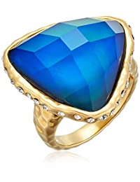 Color Changing 18k Yellow Gold Plated Bronze Triangle Shape Thermochromic Liquid Crystal and Czech Crystal Modern Mood Ring, Size 7