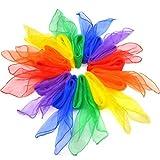 Honearn 12pcs Square Juggling Dance Scarves Multi-Color Rhythm Band Scarves