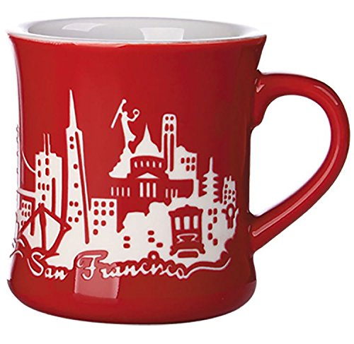 San Francisco Skyline Etched Diner Mug - Red - A Califonria Souvenir (San Mugs Francisco)