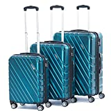 Cheap Expandable Spinner Luggage Sets 3 Piece PC+ABS Lightweight Suitcase TSA lock 20inch carry on 24inch 28inch(BLUE)
