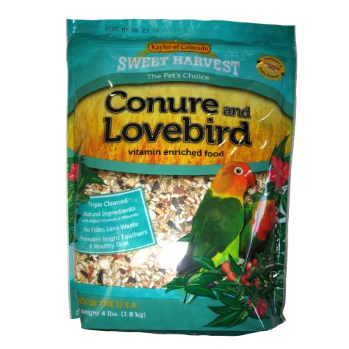 Kaylor made- Sweet Harvest Enriched Conure Lovebird Bird Food 4 Lb, My Pet Supplies
