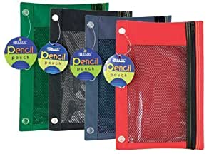 Bazic Products 803-144 3 Ring Pencil Pouch With Mesh Window Assorted Colors