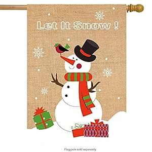 "Let is Snow Snowman Burlap Winter House Flag Seasonal 28"" x 40"" Briarwood Lane"