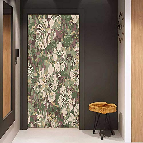 (Onefzc Front Door Sticker Camo Aloha Hawaiian Tropical Jungle Forest Hibiscus Flowers Leaves Nature for Home Decor W31 x H79 Baby Pink Green Dark Brown)
