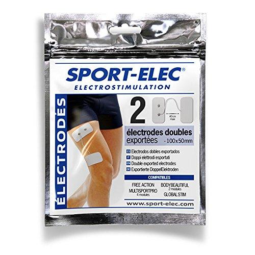 Sport-Elec EAEXP100x50 Set 4 electrodos Dobles movibles Unidos con Cable