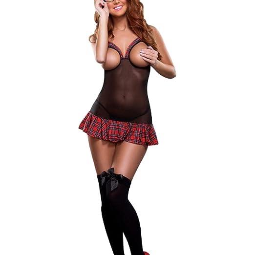 e27db8d2812d Hunzed Women Girl Sexy Cute Lingerie, Open Cup Crotchless Uniform  Nightdress Bodysuit Mini Skirt Underwear