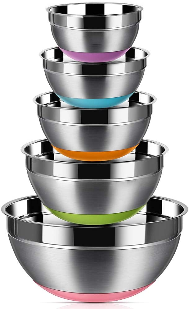 Stainless Steel Mixing Bowls (Set of 5), Non Slip Colorful Silicone Bottom Nesting Storage Bowls by Regiller, Polished Mirror Finish For Healthy Meal Mixing and Prepping 1.5 - 2 - 2.5 - 3.5 - 7QT