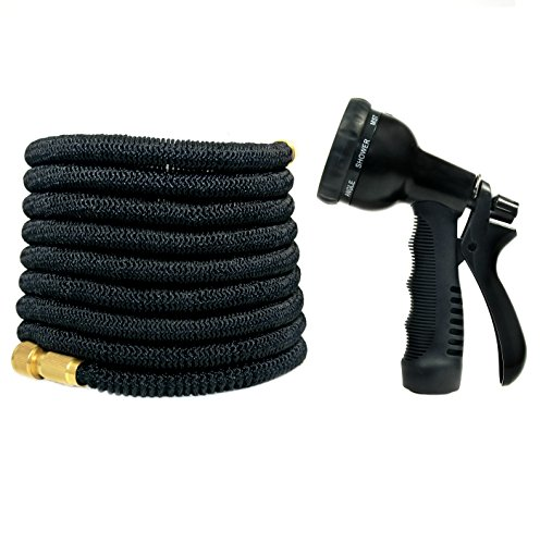 Expandable Garden Hose w/ 8 Spray Pattern Nozzle (50') Outdoor Lawn and Gardening | Flexible, Retractable Design | Lightweight with Strong Latex Core