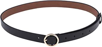 Lovoski Women Ladies Waistband PU Leather Thin Skinny Belt Buckle Waist Belt