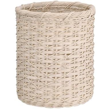 Organize It All Natural Wicker Wastebasket, Cream