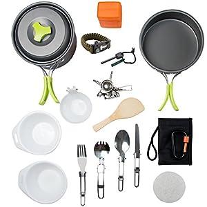 1 Liter Camping Cookware Mess Kit Backpacking Gear & Hiking Outdoors Bug Out Bag Cooking Equipment 18 Piece Cookset   Lightweight, Compact, & Durable Pot Pan Bowls - Free Folding Spork, Nylon Bag