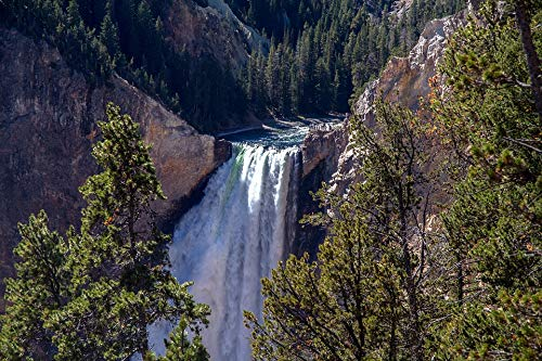 Home Comforts Canvas Print Lower Falls Yellowstone National Park Waterfall Vivid Imagery Stretched Canvas 10 x 14