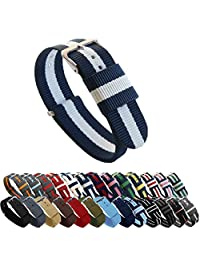 BARTON Watch Bands - Choice of Color, Length & Width (18mm, 20mm, 22mm or 24mm) - Navy/Ivory 18mm Width