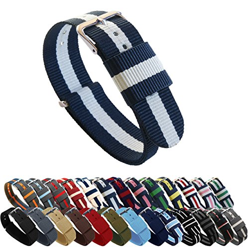 BARTON Watch Bands - Choice of Color, Length & Width (18mm, 20mm, 22mm or 24mm) - Navy/Ivory 20mm - Standard Length
