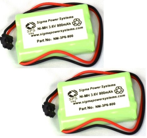 SPS Brand 3.6V 800 mAh Replacement Battery for Radio Shack/Tandy 23-961 CordlessPhone (2 Pack)