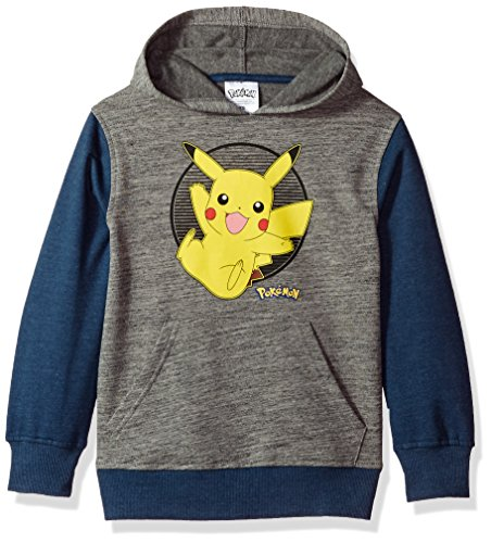 Pokemon Big Boys' Pikachu Pullover Hoodie, Grey/Blue, 10
