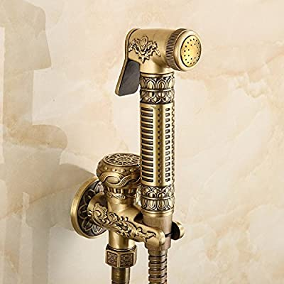 Beelee BA9901A Handheld Bidet Set Shattaf Cloth Diaper Brass Sprayer Combo Set for Toilet with T-adapter and Hose , Antique Brass Finished
