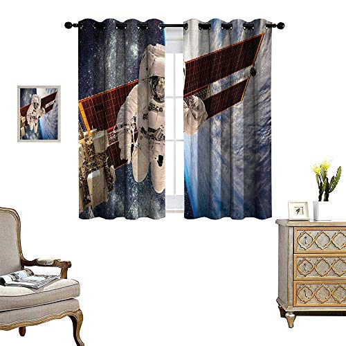 Anyangeight Outer Space Window Curtain Drape International Station Global Communication Orbiting Over The Earth Rocket Photo Decorative Curtains for Living Room W63 x L45 Multi