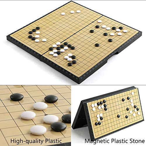 Luoyer Go Game Set Foldable 11inch (28cm),Go Game Board 19x19 Portable with Magnetic Plastic Stones and Storage Classic Chinese Chess Weiqi Strategy Board Game for Kids Adult