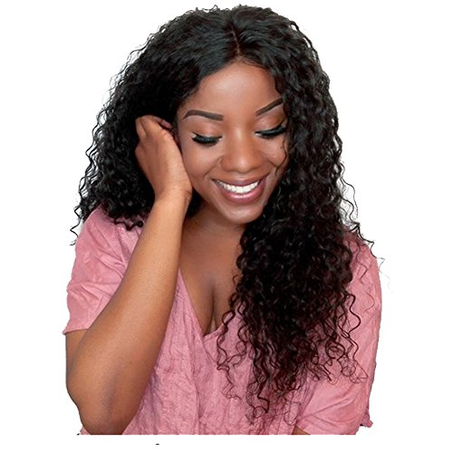 Royal-First Glueless Kinky Curly Lace Front Wig Brazilian Virgin Human Hair Wigs for Women 18inch Natural Color 150% High Density by Royal-first