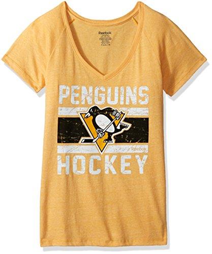 NHL Pittsburgh Penguins Women's Iced Lines Tri-Blend V-Neck Tee, Large, Gold