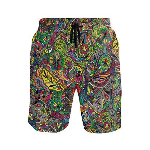 cdee3c6a6e676 KVMV Funky Curly Detailed Ethnic Doodles Tangled Trippy Pyschedelic  Botanical Na Casual Swim Trunks s