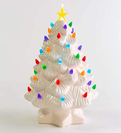 Plow Hearth 14 Indoor Outdoor Battery Operated Lighted Ceramic Christmas Tree 8 75 Dia White