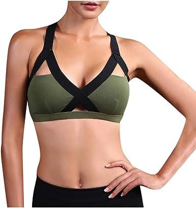 Women Yoga Zipper Strappy Underwear Wireless Vest Bra Sports Casual Gym Fitness